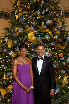 2015 President and Mrs Obama and the Christmas tree that 4 some reason I find to be sooo pretty !!