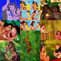 Tarzan and Jane. They are absolutely adorable and sweet and what they have is so natural, pure, innocent and SIGHT., Just look at the way they see each other! I ADORE THEM! Tarzan And Jane, Disney Challenge, Disney Stuff, Challenges, Couple, Pure Products, Natural, Sweet, Painting