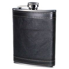 Hip Flask 8oz - Black Leather Effect. Visit us now and ENJOY 10% OFF + FREE SHIPPING on all orders