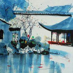苏州园林 (Garden in Suzhou) – 吴冠中/Wu Guanzhong - Garden Drawing Korean Painting, Japanese Painting, Chinese Painting, Chinese Landscape, Chinese Garden, Watercolor Illustration, Watercolor Art, Wu Guanzhong, Chinese Contemporary Art