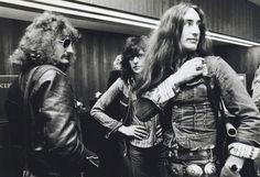 Uriah Heep backstage 1973 David Byron, Gary Thain and Ken Hensley