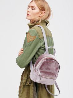 Night Fever Velvet Backpack | Pretty compact velvet backpack featuring outer…