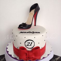 21st Birthday Cake with High Heel Shoe Topper - by Mari's Boutique Cakes