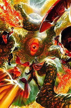 Shuma-Gorath vs. The Invaders   art by Alex Ross