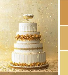 #Gold and #white #wedding #cake