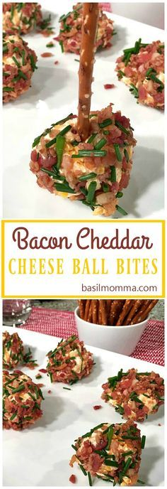 Bacon cheddar cheese ball bites are easy holiday appetizers or game day snacks. Tiny balls of cheddar and cream cheese, rolled in crisp bacon and chives.
