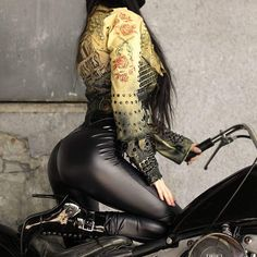 Get your motor runnin'........ Bullet pants are more than 70% sold out...you've been warned! Shop link is in my bio. #toxicvision #borntobewild #bulletpants #ironhead #bikerchick #fauxleather #handmade