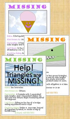 Fun way to review and learn about triangles. You can even make your own signs or look for and correct mistakes on example signs.