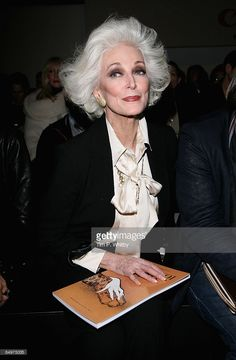 Carmen Dell'Orifice in the front row for the Jaeger show, as part of London Fashion Week a/w 2009 at the BFC Tent, Natural History Museum on February 21, 2009 in London, England