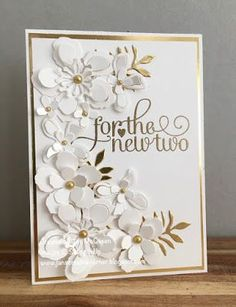 Wedding card using Stampin Up's For the New Two and Botanical Builder Framelits by Jan McQueen. More info @ www.janscreativecorner.blogspot.com #WeddingCards