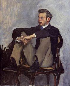 """Pierre-Auguste Renoir (1841-1919), """"Frédéric Bazille"""" (1867). Oil on canvas. H. 105 cm; W. 73.5 cm. Musée d'Orsay (Paris)."""