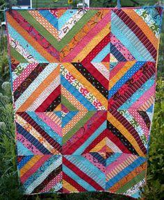 Modern Bright Strip Lap Quilt in Pinks Blues by MyBitOfWonder