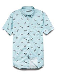 Zebra Print Cotton Shirt   21 MEN #21Men #AnimalPrint #Zebra