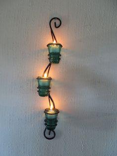 Glass Insulator Candle Holder Light Sconce by OffJaynesHook