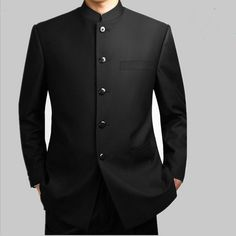 Mandarin Collar Suit Men Black Dragon Embroidery Jacket Pant Suits Plus Size Chinese Tang Suit Wedding Jacket Business Jackets