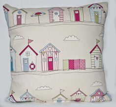 16ins Handmade Throw Pillow / Cushion Cover  in Pink , Cream English Style Beach Hut, Seaside Fabric With Red, White and Blue Striped Back
