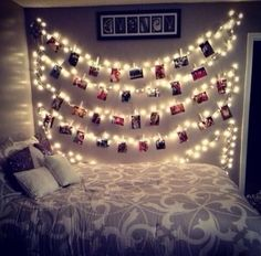 Lights and pictures above the bed