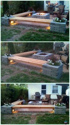 Diy Propane Fire Pit, Fire Pit Backyard, Backyard Bbq, Garden Fire Pit, Fire Pit Gazebo, Patio With Firepit, Backyard Fire Pits, Deck With Fire Pit, Outdoor Propane Fire Pit