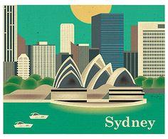 Affiche Sidney papier tissé, Multicolore - L26