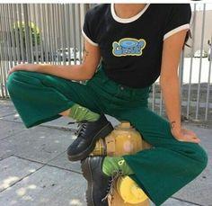 black tee white trim green pants green socks black oxfords follow my insta @artfromva