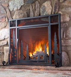 This unique fire screen with a laser cut mountain cabin design comes to life when you light a fire. Our exclusive screen features a detailed beveled cut mountain scene with a cozy cabin and pine trees.