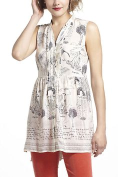 Illustrated Silk Tunic #anthropologie
