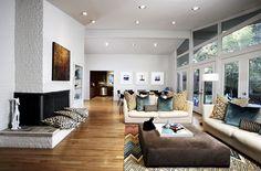 PULP Design Studios, living room, white brick fireplace, Missoni rug, mid-century modern house