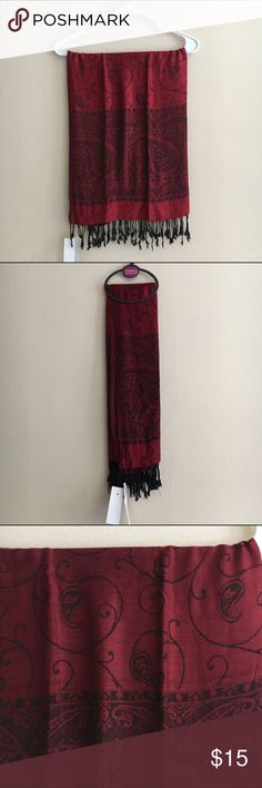 NWT Red super soft pashmina with paisley print This is a buttery soft, lightweight yet warm pashmina. Deep red with black accents and fringe. Brand new with tags. Comes from a smoke free, pet free home. Accessories Scarves & Wraps