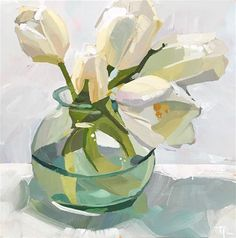 """Daily Paintworks - """"Spring White Out"""" - Original Fine Art for Sale - © Teddi Parker Tulip Painting, Oil Painting Abstract, Oil Painting Flowers, Painting Art, Watercolor Flowers, Watercolor Art, Modern Art Paintings, Oil Paintings, Indian Paintings"""