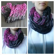Items similar to Infinity Scarf - double wrap circle scarf chunky textured loose knit black, grey and fuchsia. on Etsy Chunky Scarves, Circle Scarf, Knits, Infinity, Trending Outfits, Knitting, Etsy, Fashion, Moda