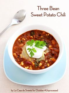 Three #Bean #SweetPotato #Chili   Here's another great one from October Unprocessed. By the way, even though it's past October 1, it's never too late to go unprocessed!