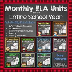 Get 20% OFF on Monthly Themed ELA Units for Grades 3-5! September - May is covered with Informational Text, worksheets, games, poetry, writing, and more. Fun for students and easy prep for homeschooling moms and teachers!