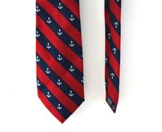 Vintage 80s tie preppy anchors red navy striped nautical theme
