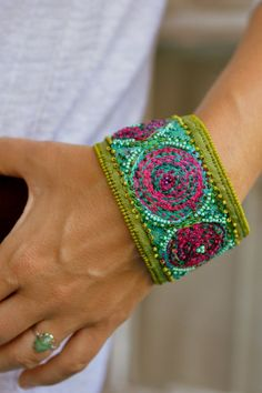 Crazy Quilt Embroidery linen embellished bracelet with by moligami