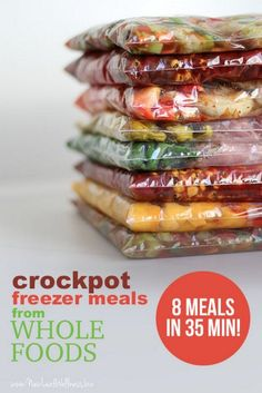 Crockpot freezer meals from Whole Foods meals in 35 min!) Crockpot freezer meals from Whole Foods meals in 35 min!biz A Crock-Pot is basically a counter top electrical cooking app Slow Cooker Freezer Meals, Make Ahead Freezer Meals, Crock Pot Freezer, Freezer Cooking, Crock Pot Cooking, Slow Cooker Recipes, Cooking Recipes, Crockpot Meals, Freezer Recipes