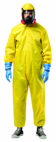 #4716 Breaking Bad Hazmat Suit - Dress up as Walter White, the leading character from AMC's hit television series Breaking Bad, for Halloween this year! This is an officially licensed costume that includes a bright yellow jumpsuit, plastic mask, beard, and gloves.   #breakingbad #halloween #halloweencostume #walterwhite