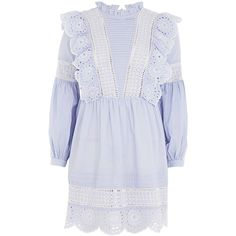 Topshop Stripe Cutwork Frill Smock Dress ($62) ❤ liked on Polyvore featuring dresses, topshop, light blue, light blue dresses, ruffle neck dress, light blue cotton dress, frill sleeve dress and ruffle sleeve dress