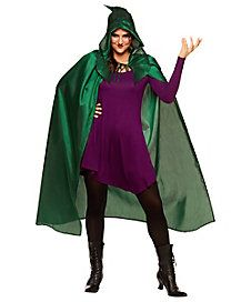 this winifred cape features the hooded dark green style of winifred sanderson herself and