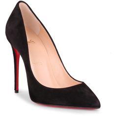 Pigalle Follies 100 Black Suede Pump (2.190 BRL) ❤ liked on Polyvore featuring shoes, pumps, black, black pumps, black high heel pumps, high heeled footwear, high heel pumps and pointed toe high heel pumps