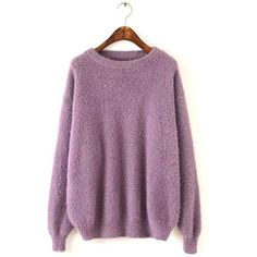 Yoins Fluffy Long Sleeve Knit Sweater in Purple ($35) ❤ liked on Polyvore featuring tops, sweaters, yoins, purple, long sweaters, purple long sleeve top, long purple sweater, round neck sweater and long tops