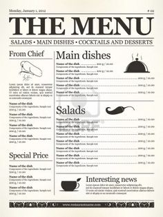 Restaurant menu design. Concept type of old newspaper  Stock Photo