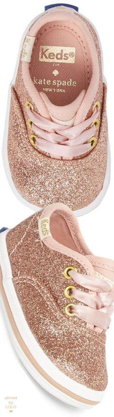 Rose gold pink glitter baby toddler sized keds tennis shoes | rose gold baby keds sneakers | modern vintage baby toddler shoe style