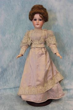 "19 5"" Antique German Bisque Lady Doll 1159 by Simon and Halbig Edwardian Dress 