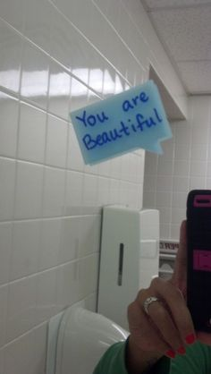 """Operation Beautiful: """"The mission of Operation Beautiful is to post anonymous notes in public places for other people to find. The point is that WE ARE ALL BEAUTIFUL. You are enough... just the way you are!"""""""