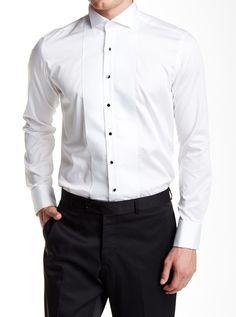 0e970cc078 Embroidered Jewel Button Slim Fit Tuxedo Shirt - White
