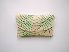 Wild Fern Wallet Pouch  Hand Painted Leather by kertis on Etsy