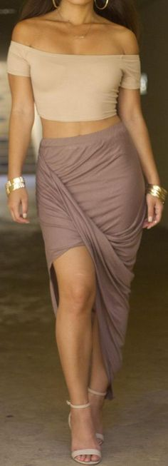 Taupe Mandalay Waterfall Skirt