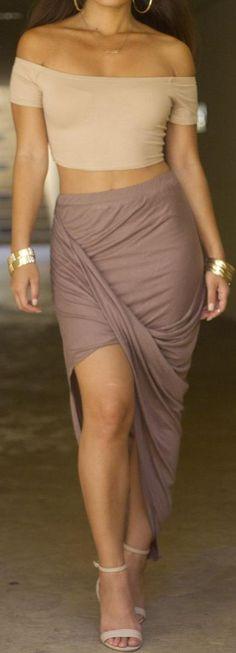 Taupe Mandalay Waterfall Skirt