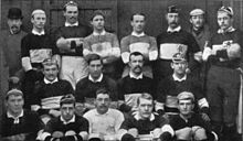 Rugby Football History Barbarians team that played Huddersfield, December 1891 The original uniform was a white shirt with the monogram B.F.C. over the left breast, dark shorts and socks. It also had a skull and crossbones over the letters but this was later removed. Their now famous uniforms, black and white hooped jerseys, with the overlapping B.F.C. were not adopted until 1891.