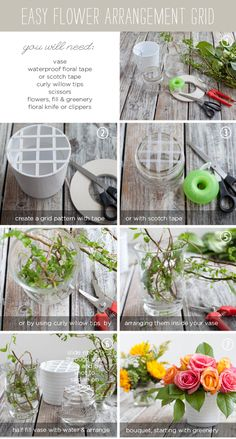 Create a tape grid. This will help create a full bouquet, and help you angle and position your flowers.